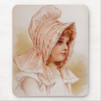 Girl in Pink Bonnet Mouse Pad