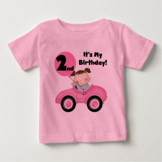 Girl in Pink Car 2nd Birthday Tshirts and Gifts