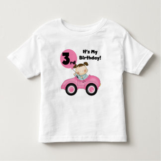 Girl in Pink Car 3rd Birthday Tshirts and Gifts