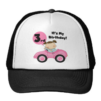 Girl in Pink Car 3rd Birthday Tshirts and Gifts Trucker Hat