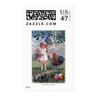 Girl in Pink Holding Purple Flowers Postage