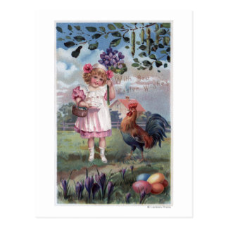 Girl in Pink Holding Purple Flowers Postcard