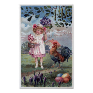 Girl in Pink Holding Purple Flowers Poster