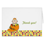 Girl in Pumpkin Baby Shower Thank You Notes Greeting Card