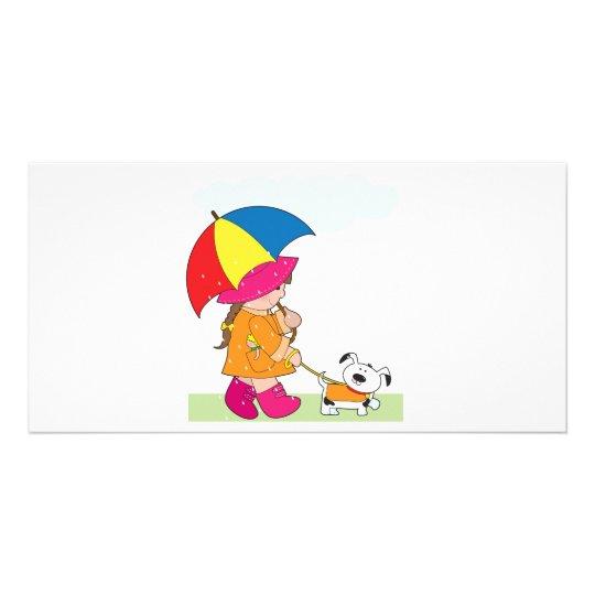 Girl in Rain Card