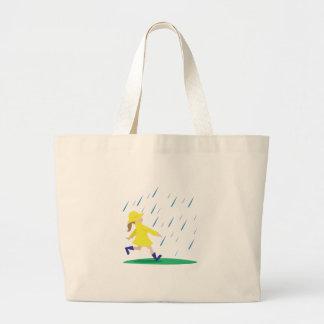 Girl In Rain Large Tote Bag