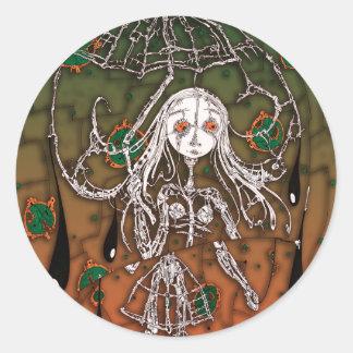 Girl: in Rain Classic Round Sticker