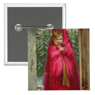 Girl in Red Cape Pinback Button