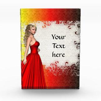 Girl in red dress awards