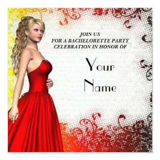 Girl in red dress bachelorette party custom announcements