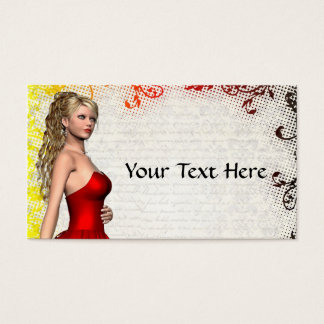 Girl in red dress business card