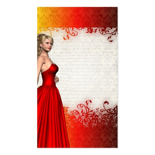 Girl in red dress business card templates