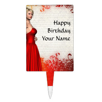 Girl in red dress cake pick