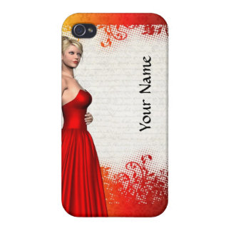 Girl in red dress case for iPhone 4