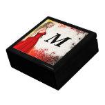 Girl in red dress gift box