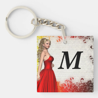 Girl in red dress keychain