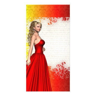 Girl in red dress photo card template