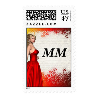 Girl in red dress postage stamp