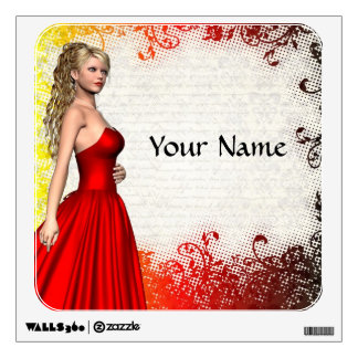 Girl in red dress wall decal
