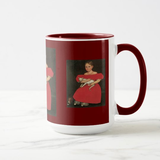 Girl in red holding her cat and dog mug
