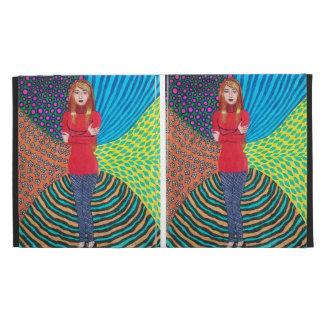 Girl In Red Hugging Herself iPad Folio Covers