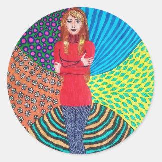 Girl In Red Hugging Herself Classic Round Sticker