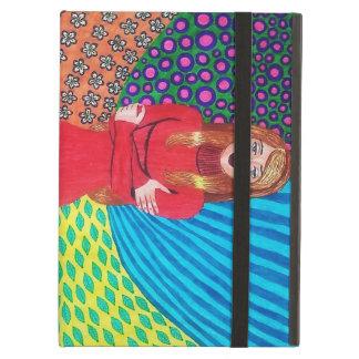 Girl In Red Hugging Herself iPad Folio Case