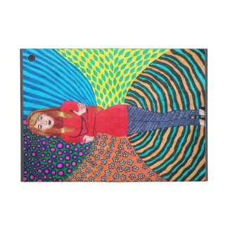 Girl In Red Hugging Herself Cases For iPad Mini