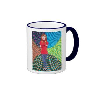 Girl In Red Hugging Herself Coffee Mugs