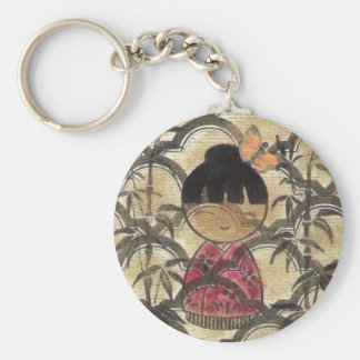 Girl in Red Kimono with Gold Keychain