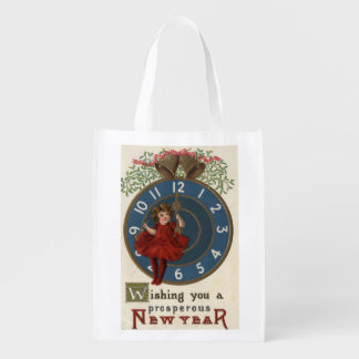 Girl in Red Sitting on Clock Grocery Bag