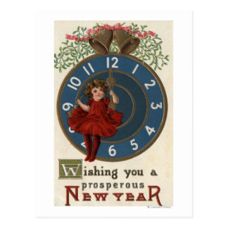 Girl in Red Sitting on Clock Postcard