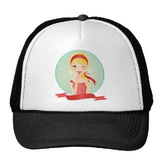 Girl in red trucker hat