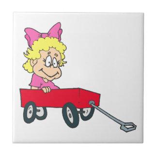 girl in red wagon ceramic tile