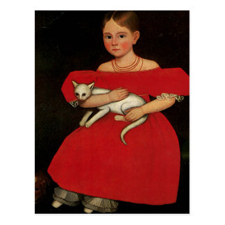 Girl in Red with her Cat and Dog Postcard