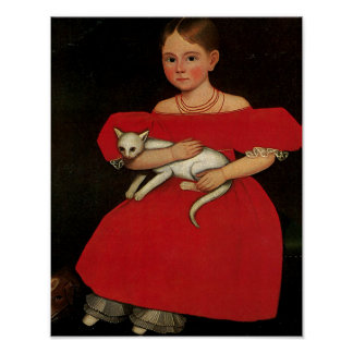 Girl in Red with her Cat and Dog Posters