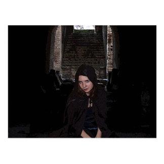 Girl in ruins postcard