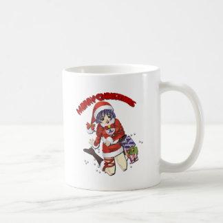 Girl in Santa Claus Coffee Mug