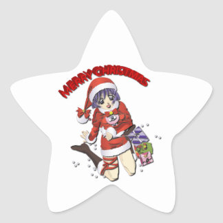 Girl in Santa Claus Stickers