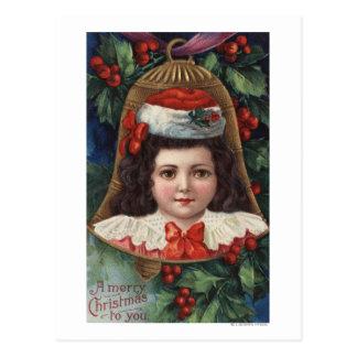 Girl in Santa Hat in Bell Postcard