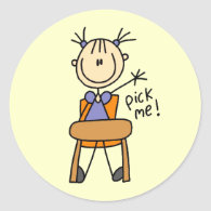 Girl in School Classic Round Sticker