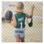 Girl in softball uniform ceramic tiles