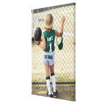 Girl in softball uniform gallery wrap canvas