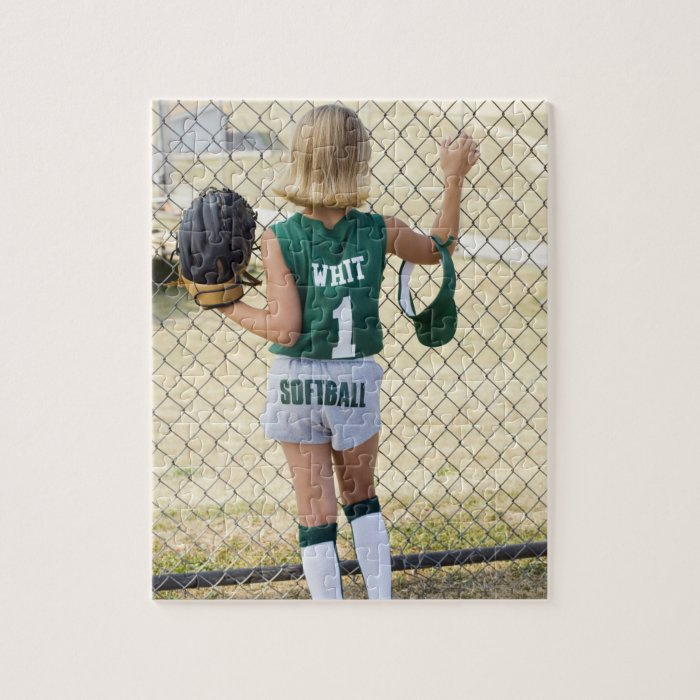 Girl in softball uniform jigsaw puzzle