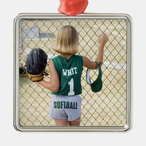 Girl in softball uniform square metal christmas ornament