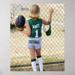 Girl in softball uniform poster