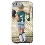 Girl in softball uniform tough iPhone 6 case