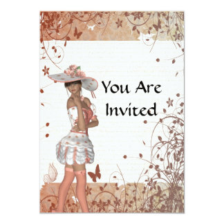 Girl in summer hat 5x7 paper invitation card