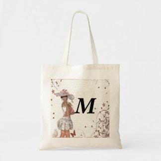 Girl in summer hat tote bags
