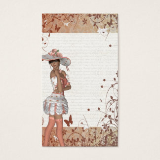 Girl in summer hat business card